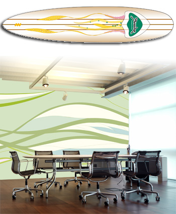 Surf board and conference room. Design by Lena Eliasson